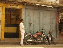 Businessmen in Kathmandu. Western Union branch keeper in Nepal Royalty Free Stock Images