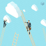 Businessmen ladder climbing to the clouds