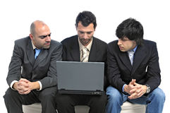 Businessmen with laptop. Isolated in white Stock Image
