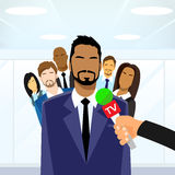 Businessmen Leader Give Interview Tv Microphone. Group of People Collegues Team Flat Design Vector Illustration Stock Photography