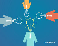 Businessmen with a light bulb head. Business Teamwork Concept.  Royalty Free Stock Images