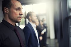 Businessmen that look far for the future. Concept of teamwork, partnership and startup royalty free stock photo