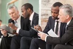Businessmen looking at paper Royalty Free Stock Image