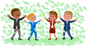Businessmen with a lot of money. Happy successful businessmen with a lot of cash vector illustration Stock Photo