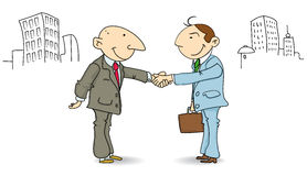Businessmen make a deal. Two businessmen shaking hands in the street Stock Photography