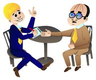 Businessmen making a deal Vector cartoon characters. Smiling young businessman making a deal with an old businessman sitting at a round table. Vector cartoon royalty free illustration