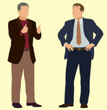 Businessmen Making Gestures. Business Men with Hands on Hips and Making Thumbs Up Sign Stock Photo