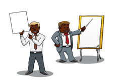 Businessmen making presentation and training. Cartoon african american businessmen pointing at blank whiteboard and flip chart. Making presentation, business Stock Photo