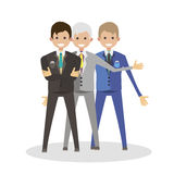 Businessmen male friends. Character people flat vector illustration Royalty Free Stock Photo