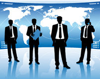 Businessmen with map Stock Images