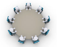 Businessmen are in a meeting around a table. 3d businessmen are sitting around a table as an office meeting Stock Images