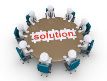 Businessmen in a meeting find the solution. 3d businessmen around table and a finished puzzle of solution Stock Images