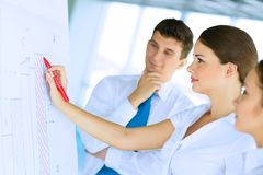 Businessmen are meeting near the flipchart Stock Photography