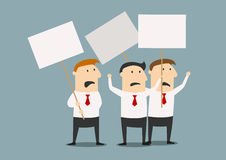 Businessmen at the meeting with posters Royalty Free Stock Image