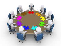 Businessmen in a meeting suggest different solutions. 3d businessmen around table and different puzzle pieces in front of them Stock Images