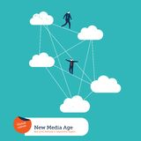 Businessmen moving from cloud to cloud Stock Photos