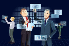 Businessmen and new technology. A vector illustration of businessmen working with new technology Stock Photo
