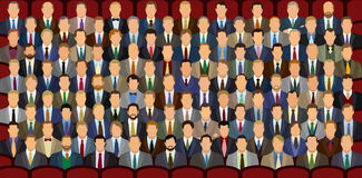 100 Businessmen. One hundred businessmen sitting in the theater. Every head is unique, no repeats. Good for showing percentages & statistics stock illustration