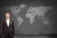 Businessmen over world map royalty free stock image