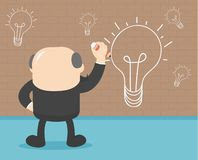 Businessmen are painting a wall lamp when they have ideas. stock illustration