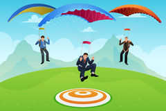 Businessmen with a Parachute Stock Image