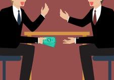 Businessmen Passing Money Under the Table stock illustration
