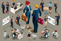 Businessmen icons isometric people concept. Businessmen people in dark suit, isometric people in dark business suit Stock Images