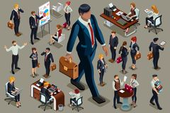 Businessmen illustrated people isometric dark suit. Businessmen people in dark suit, isometric people in dark business suit Royalty Free Stock Image