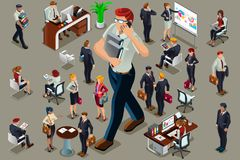 Businessmen illustrated people isometric vector. Businessmen people in dark suit, isometric people in dark business suit Royalty Free Stock Images