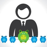 Businessmen with piggy bank Royalty Free Stock Photos
