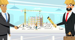 Businessmen Planning Building Project Flat Vector royalty free illustration