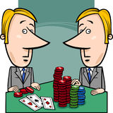 Businessmen playing poker cartoon Stock Photography