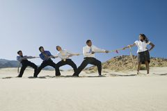 Businessmen Playing Tug Of War Against One Woman. Four multiethnic businessmen playing tug of war against one women in desert Royalty Free Stock Image