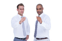 Businessmen pointing something with their hands Stock Images