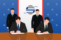 Businessmen, politicians Ceremony of signing a contract, agreements. Signing a contract A businessman, an official, a politician Stock Photography