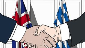 Businessmen or politicians shake hands against flags of Britain and Greece. Official meeting or cooperation related. Businessmen shake hands against flags of vector illustration