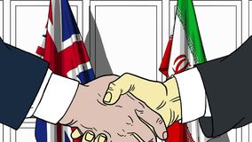 Businessmen or politicians shake hands against flags of Britain and Iran. Official meeting or cooperation related. Businessmen shake hands against flags of stock illustration