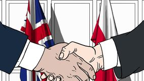 Businessmen or politicians shake hands against flags of Britain and Poland. Official meeting or cooperation related. Businessmen shake hands against flags of stock illustration