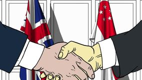 Businessmen or politicians shake hands against flags of Britain and Singapore. Official meeting or cooperation related. Businessmen shake hands against flags of royalty free illustration