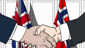 Businessmen or politicians shake hands against flags of Great Britain and Norway. Official meeting or cooperation. Businessmen shake hands against flags of vector illustration