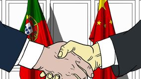 Businessmen or politicians shake hands against flags of Portugal and China. Official meeting or cooperation related. Businessmen shake hands against flags of stock illustration