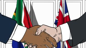 Businessmen or politicians shake hands against flags of South Africa and Britain. Official meeting or cooperation. Businessmen shake hands against flags of South vector illustration
