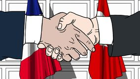 Businessmen or politicians shaking hands against flags of France and Turkey. Meeting or cooperation related cartoon. Businessmen or politicians shaking hands stock footage