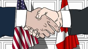 Businessmen or politicians shaking hands against flags of USA and Canada. Meeting or cooperation related cartoon. Businessmen or politicians shaking hands stock footage