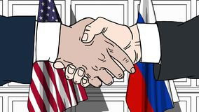 Businessmen or politicians shaking hands against flags of USA and Russia. Meeting or cooperation related cartoon. Businessmen or politicians shaking hands stock video footage