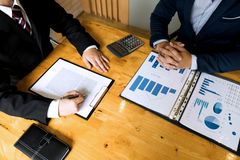 Businessmen present business plans and marketing to the boss.Business concept royalty free stock image