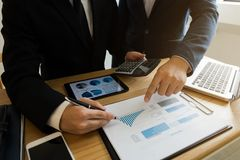 Businessmen present business plans and marketing to the partner stock photography