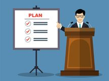 Businessmen presentation of business plan-Vector Flat Design. Businessmen presentation of business plan, man in formal suit giving speech on podium about Stock Photos