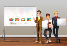 Businessmen and presentation charts. Illustration Royalty Free Stock Photography