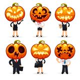 Businessmen With Pumpkins on a Heads Stock Photos